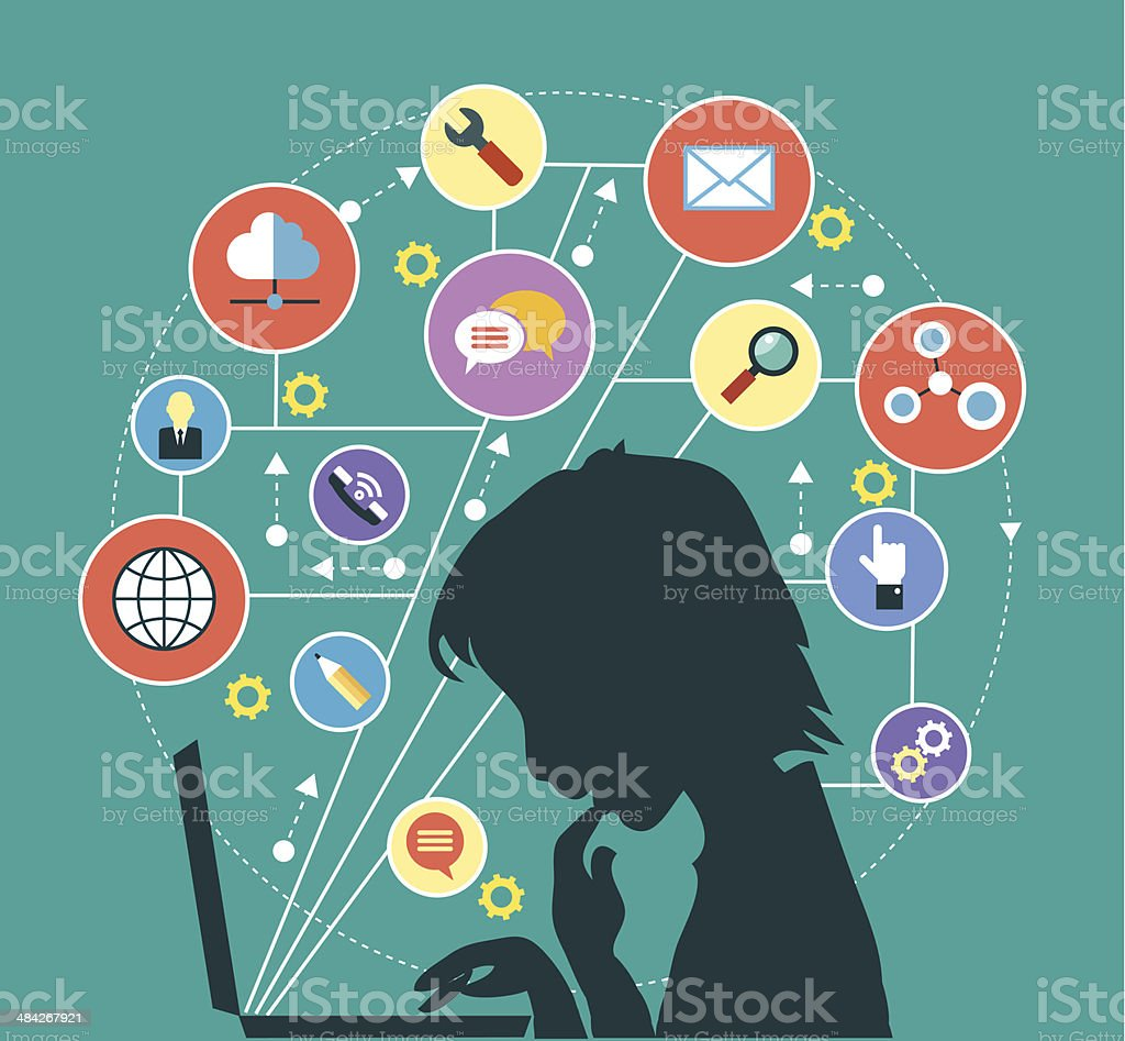 silhouette of a man with a laptop surrounded by icons vector art illustration