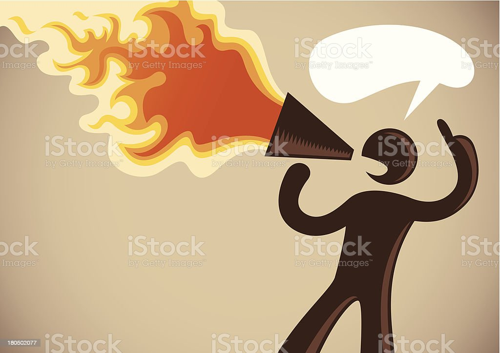 Silhouette of a man with megaphone in fire. royalty-free stock vector art