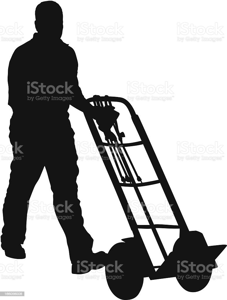 Silhouette of a man with trolley royalty-free stock vector art