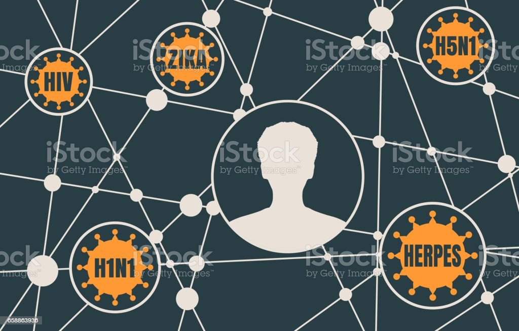 silhouette of a man's head and viruses vector art illustration