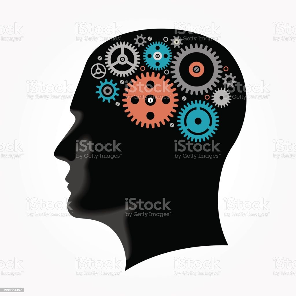 Silhouette of a man's head with gears in the shape of the brain vector art illustration