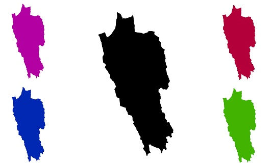 silhouette of a map of the state of Mizoram in India
