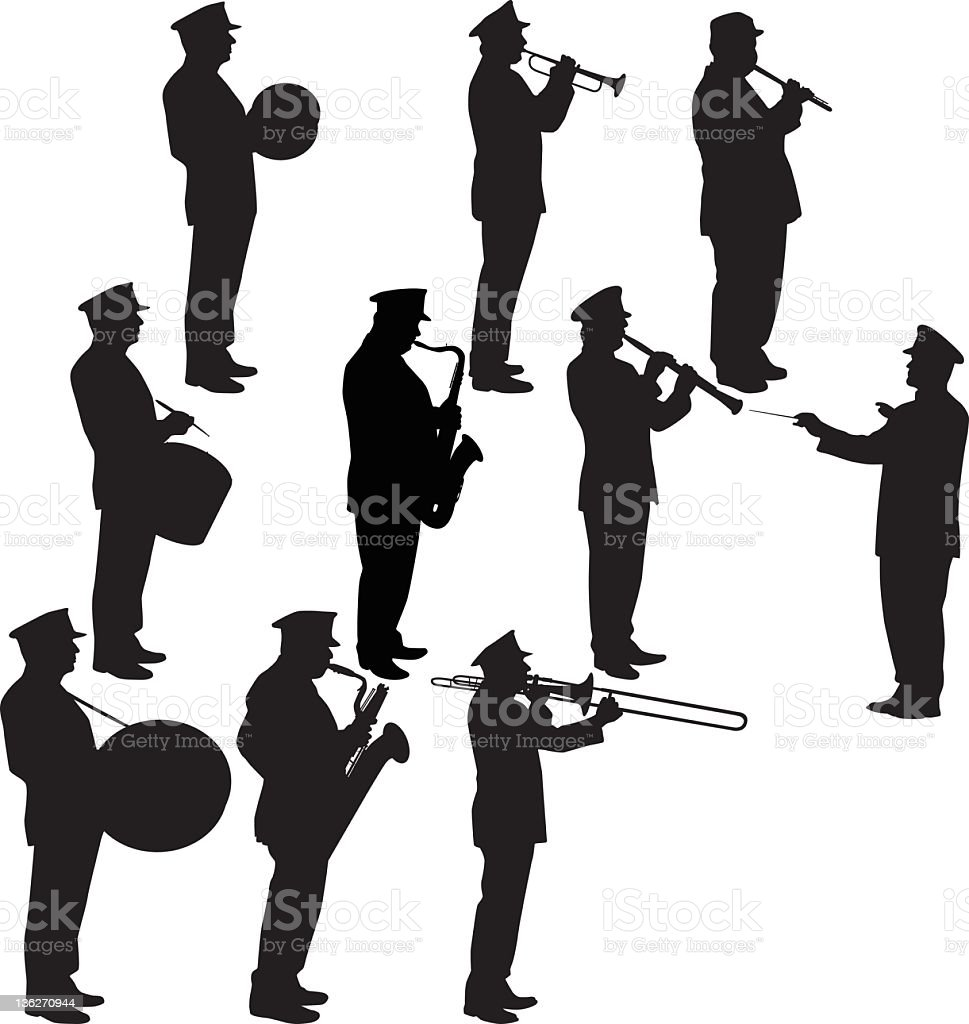 A silhouette of a military band royalty-free stock vector art