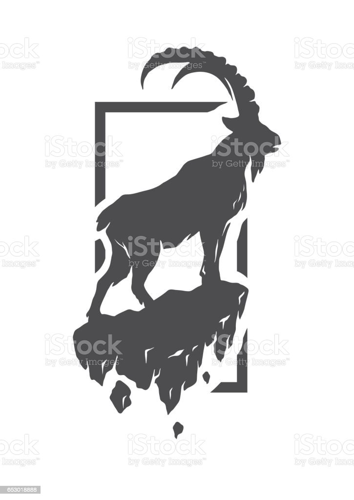 Silhouette of a mountain goat standing on a rock. – artystyczna grafika wektorowa