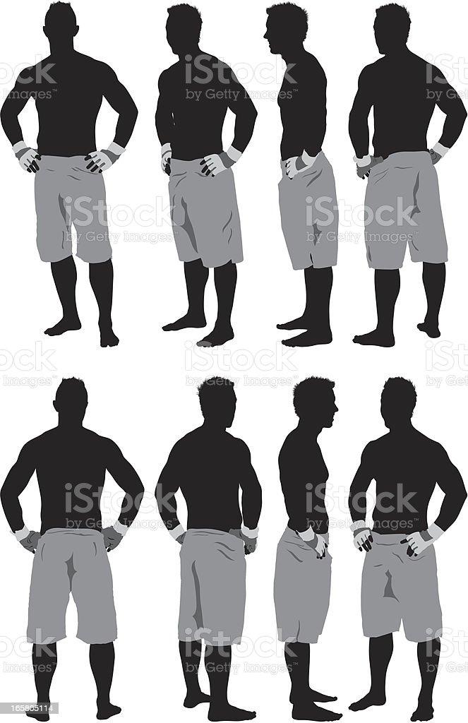 Ilustración de Silueta De Un Hombre De Pie Con Musculares Brazos En ...