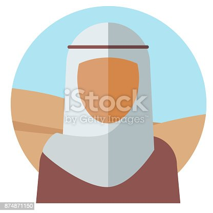 Silhouette of a muslim woman with a white cape on her head against a desert background. The concept of nationality. Vector illustration.