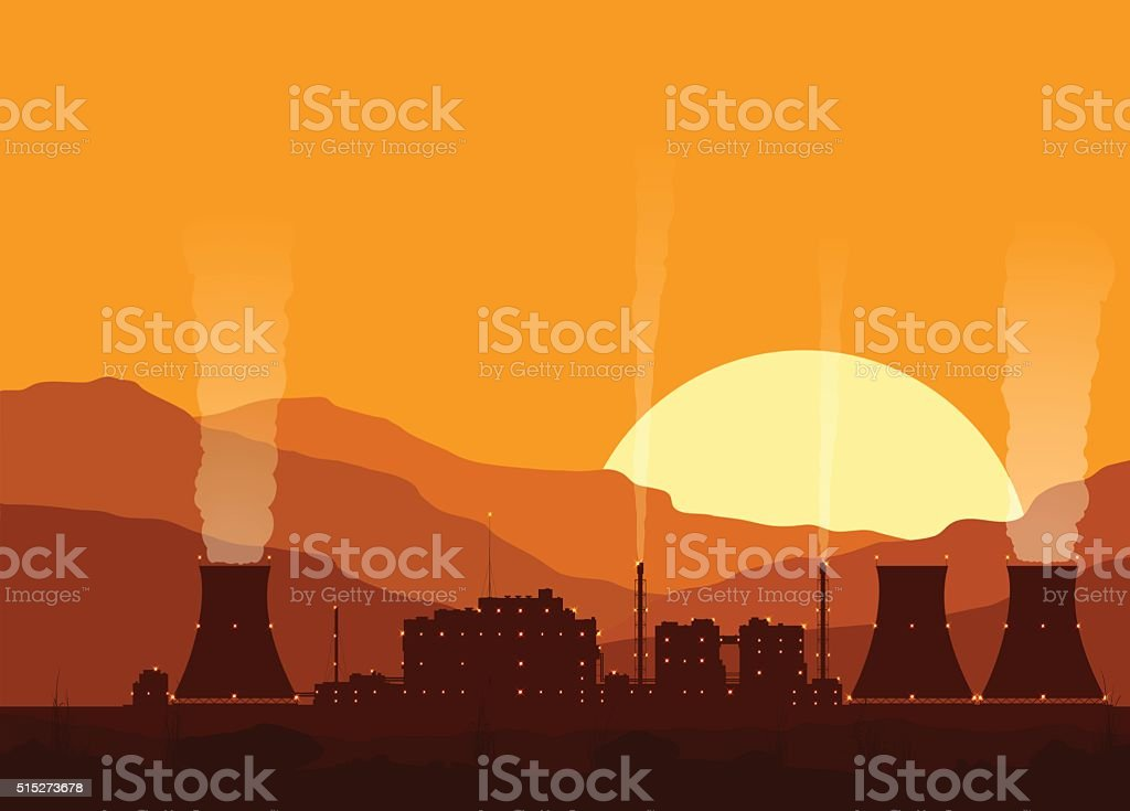 Silhouette of a nuclear power plant at sunset. vector art illustration
