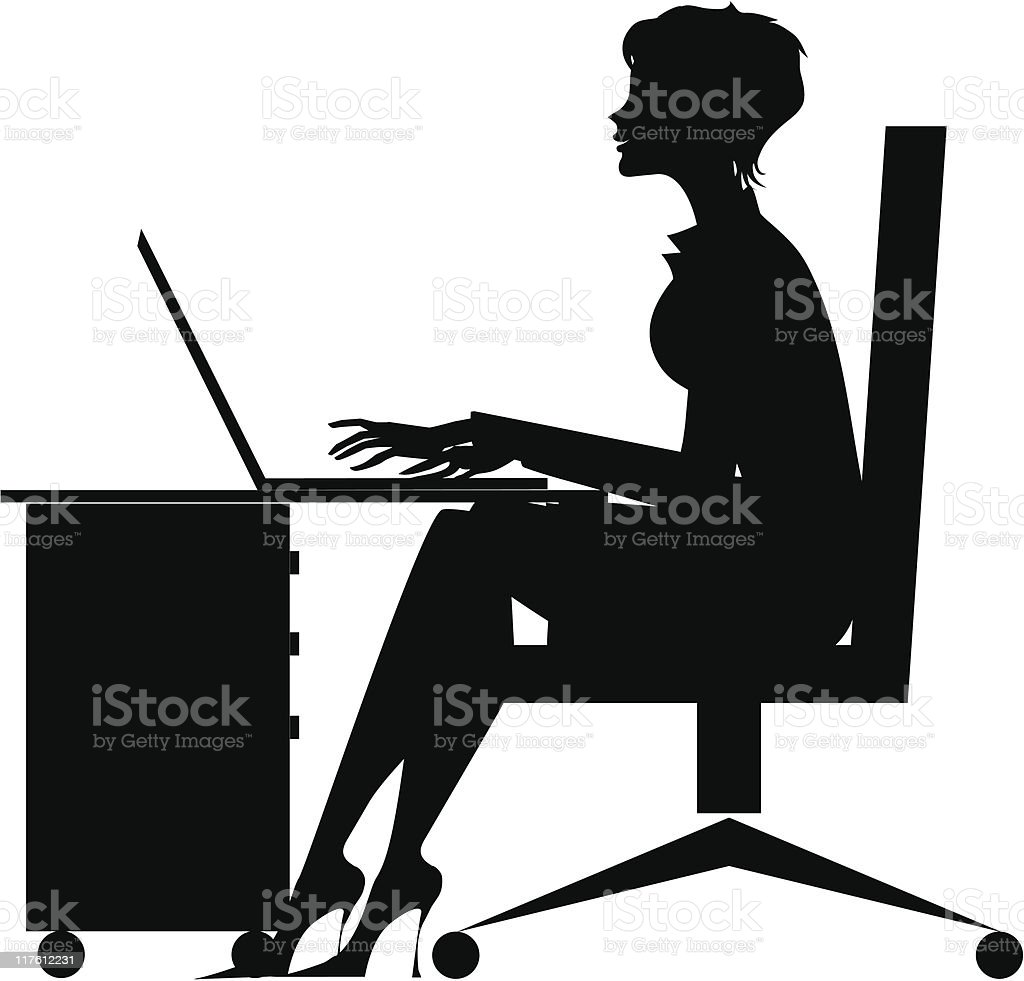 Silhouette of a office girl vector art illustration