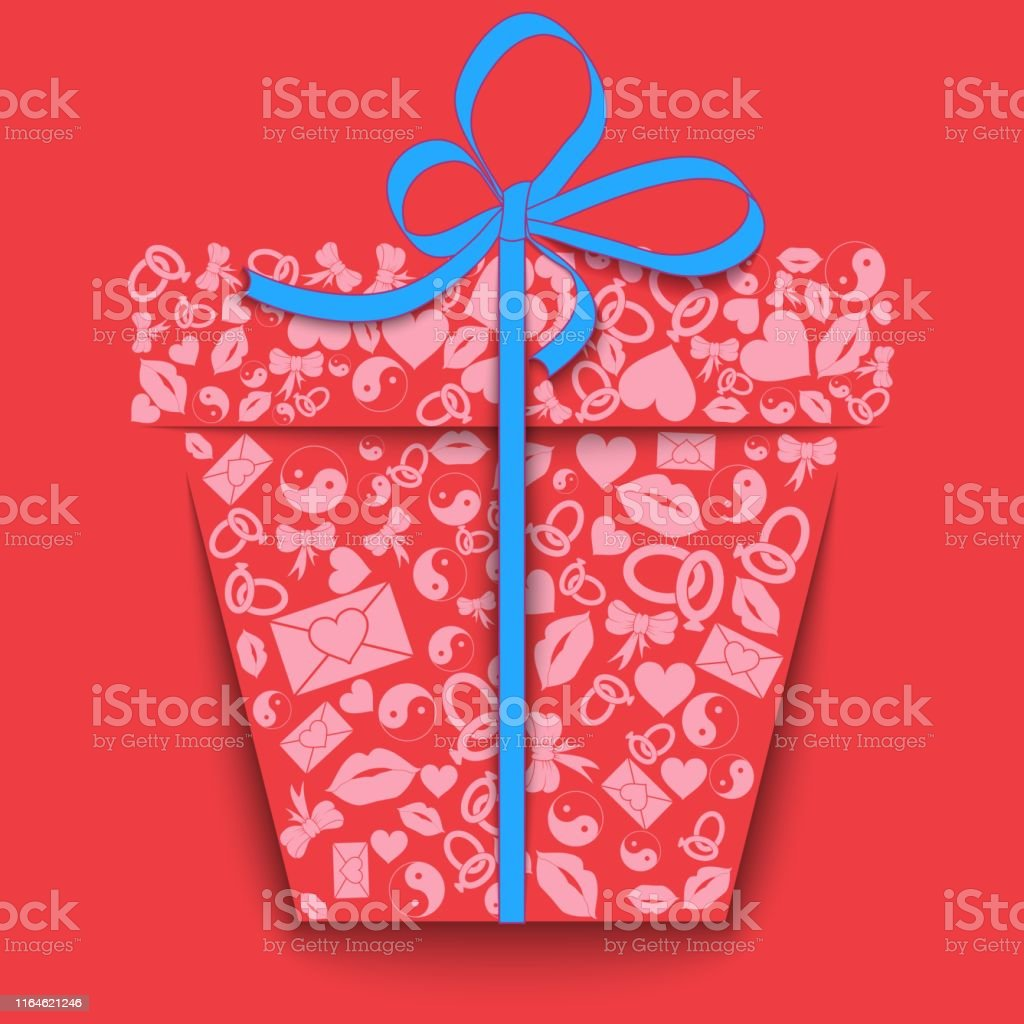 Silhouette Of A Paper Gift Box Made Of Pink Valentinees Day Icons Hearts Lips Rings Envelopes Bows Yin Yang On Pink Background Valentines Day Concept To Give Love Stock Illustration Download