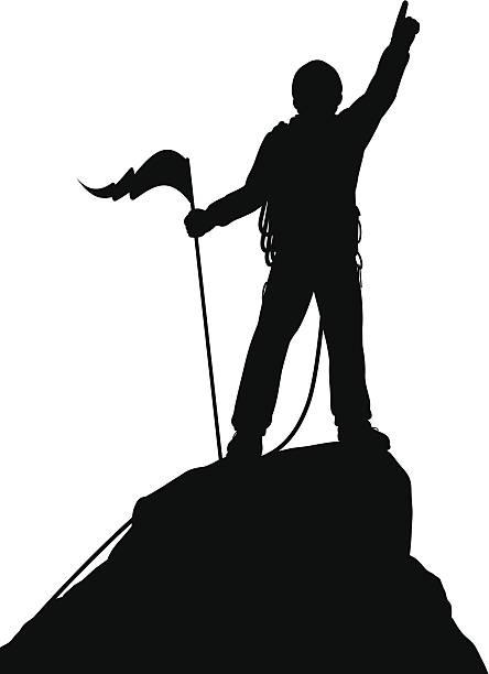 ilustrações, clipart, desenhos animados e ícones de cimeira de sucesso - escalada em rocha