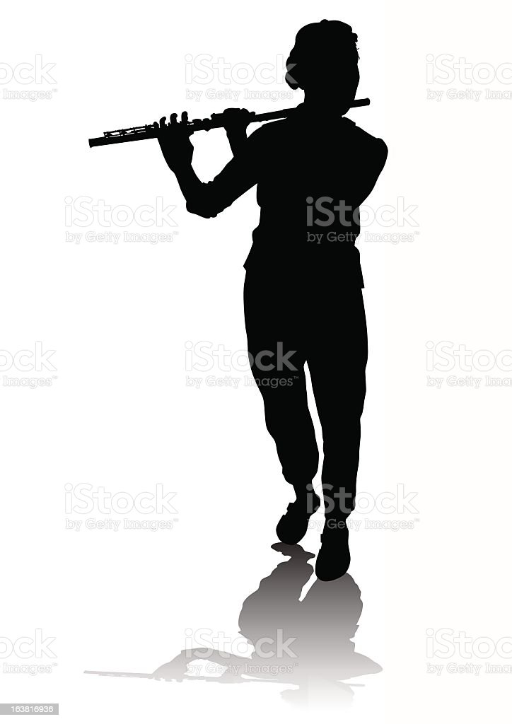 A silhouette of a person playing a flute royalty-free stock vector art