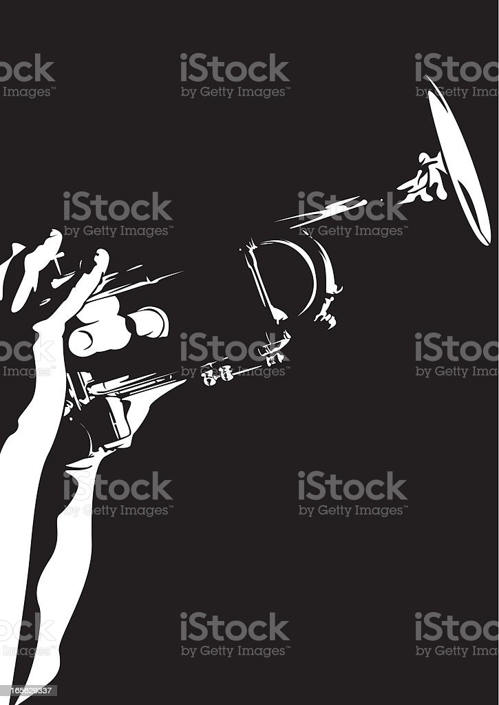 Silhouette of a person playing a jazz trumpet royalty-free stock vector art