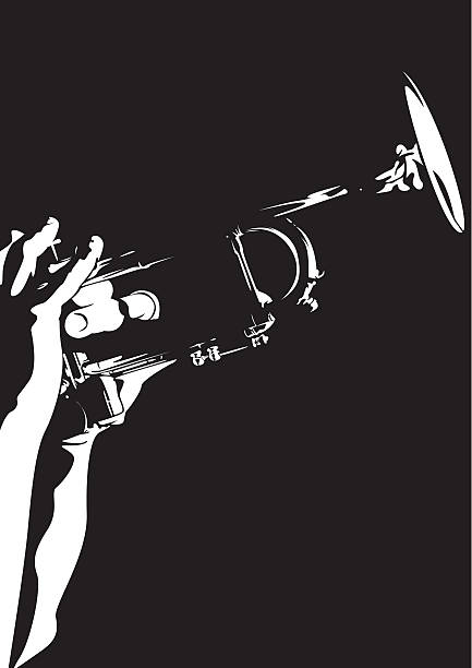 stockillustraties, clipart, cartoons en iconen met silhouette of a person playing a jazz trumpet - trompet