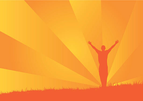 Silhouette of a person with raised arms on orange background vector art illustration