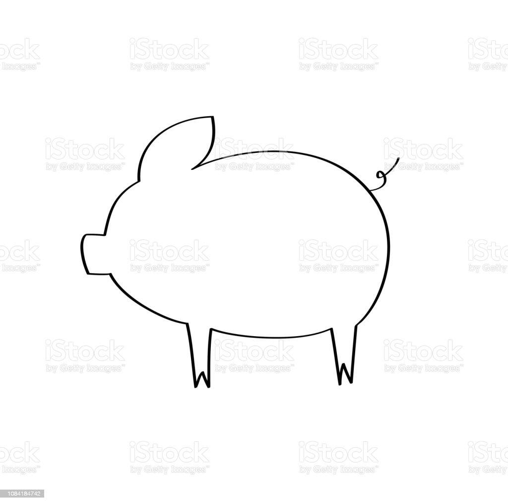 豚のシルエットラインの貯金箱豚肉白の背景にベクトル イラストシンボル