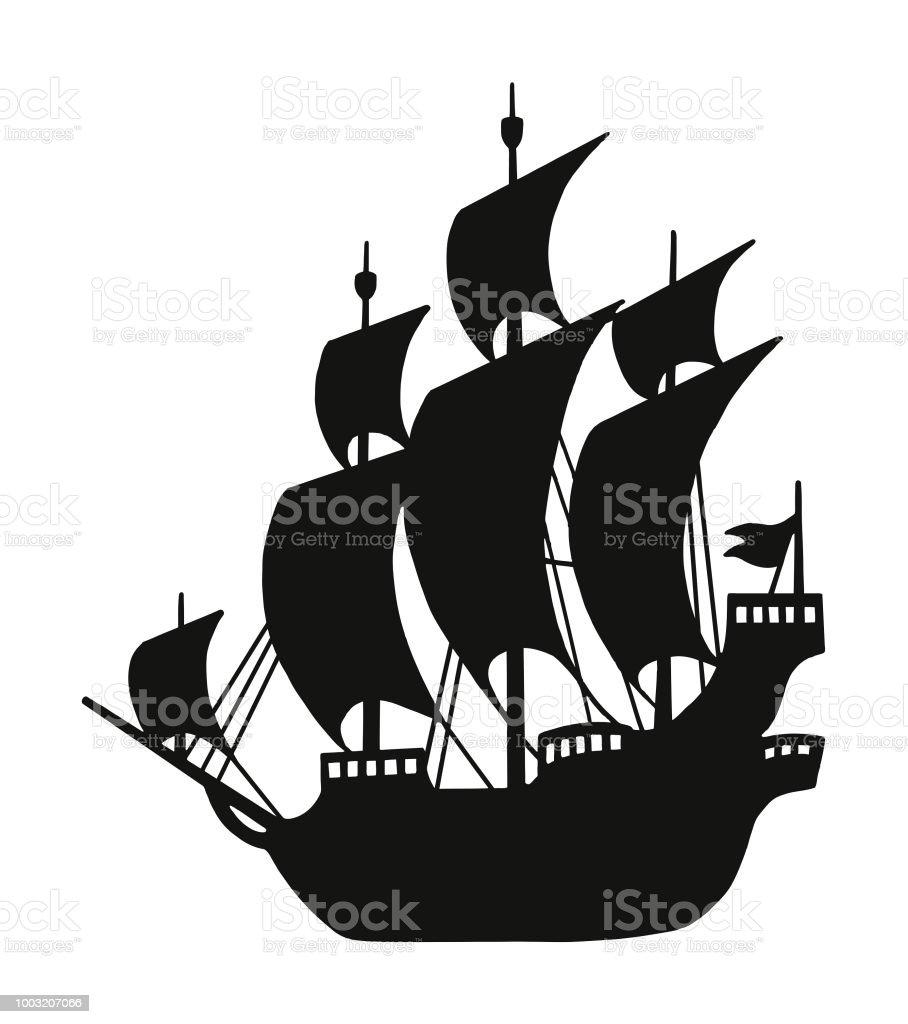 Silhouette Dun Bateau Pirate Vecteurs Libres De Droits Et Plus D Images Vectorielles De Activite Istock
