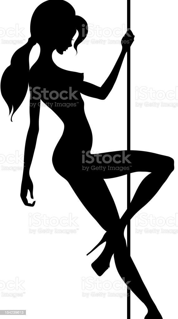 A silhouette of a pole dancer on a pole vector art illustration