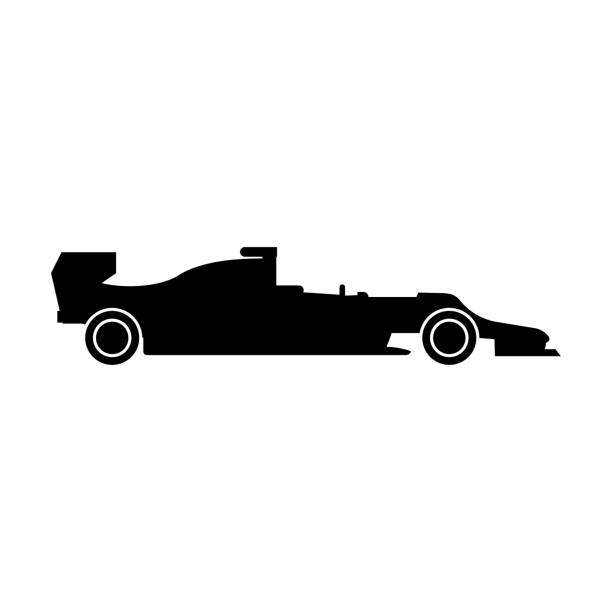 silhouette of a racing car the black color icon . - formula 1 stock illustrations
