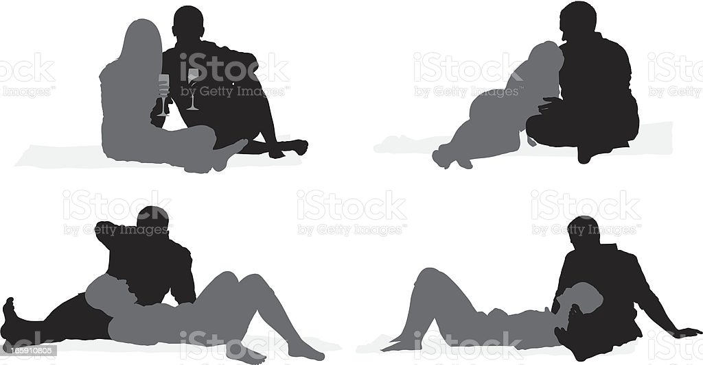 Silhouette of a romantic couple royalty-free stock vector art
