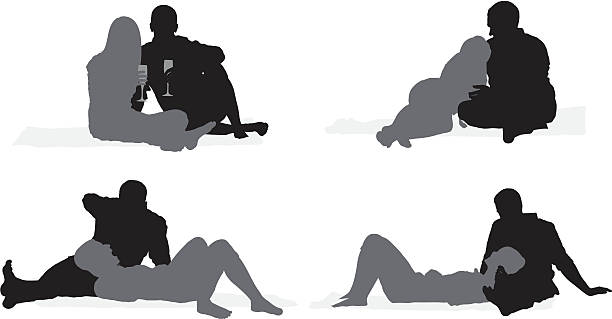 Silhouette of a romantic couple vector art illustration