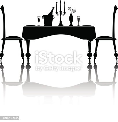 Silhouette of a romantic dinner setting for two