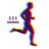 Silhouette of a running man. Design for Sport. Emblem for marathon and jogging.