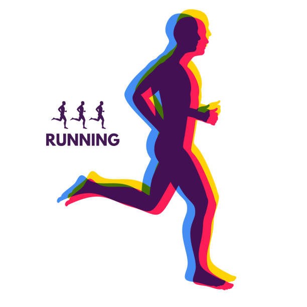 Silhouette of a running man. Design for Sport. Emblem for marathon and jogging. vector art illustration