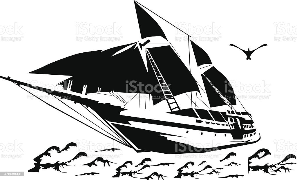 Silhouette of a sailboat on the waves. royalty-free silhouette of a sailboat on the waves stock vector art & more images of adventure