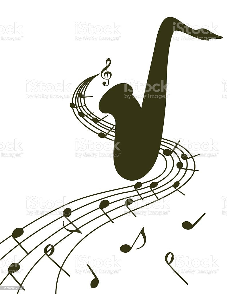 Silhouette of a saxophone on  white background vector art illustration
