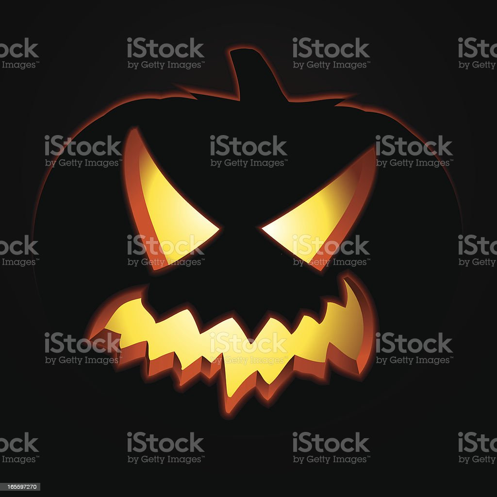 Silhouette of a scary jack o lantern royalty-free stock vector art