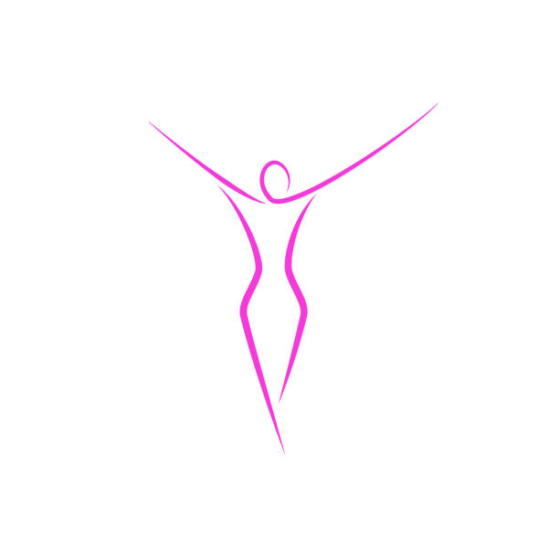 silhouette of a slender girl logo, slim figure of a young attractive woman fitness model in a linear art style, a emblem template for a spa salon or fashion show - abstract silhouettes stock illustrations