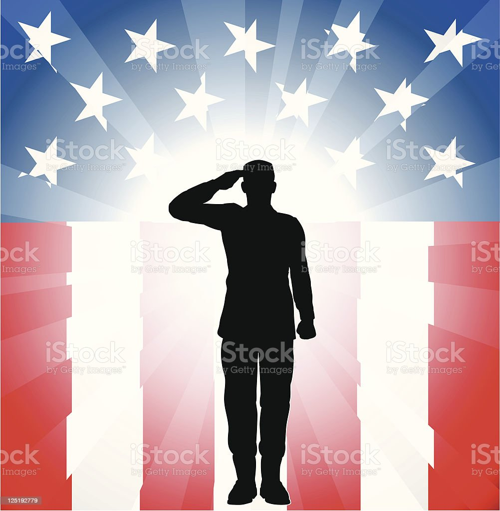 Silhouette of a soldier saluting on a flag themed background royalty-free stock vector art