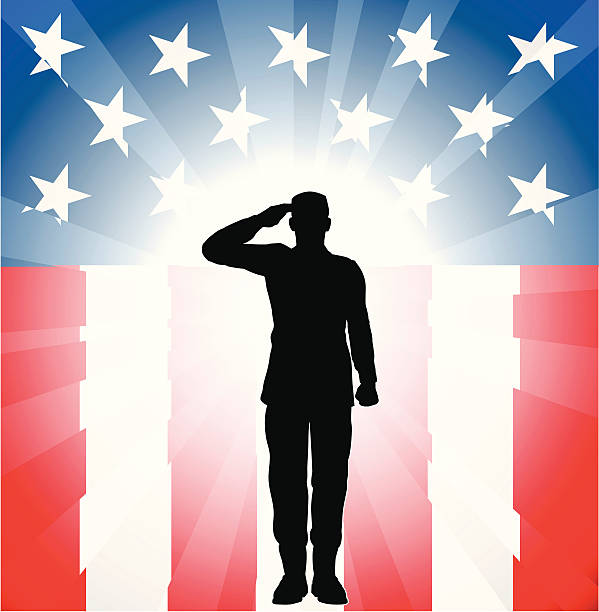 Silhouette of a soldier saluting on a flag themed background vector art illustration