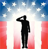 Silhouette of a soldier saluting on a flag themed background