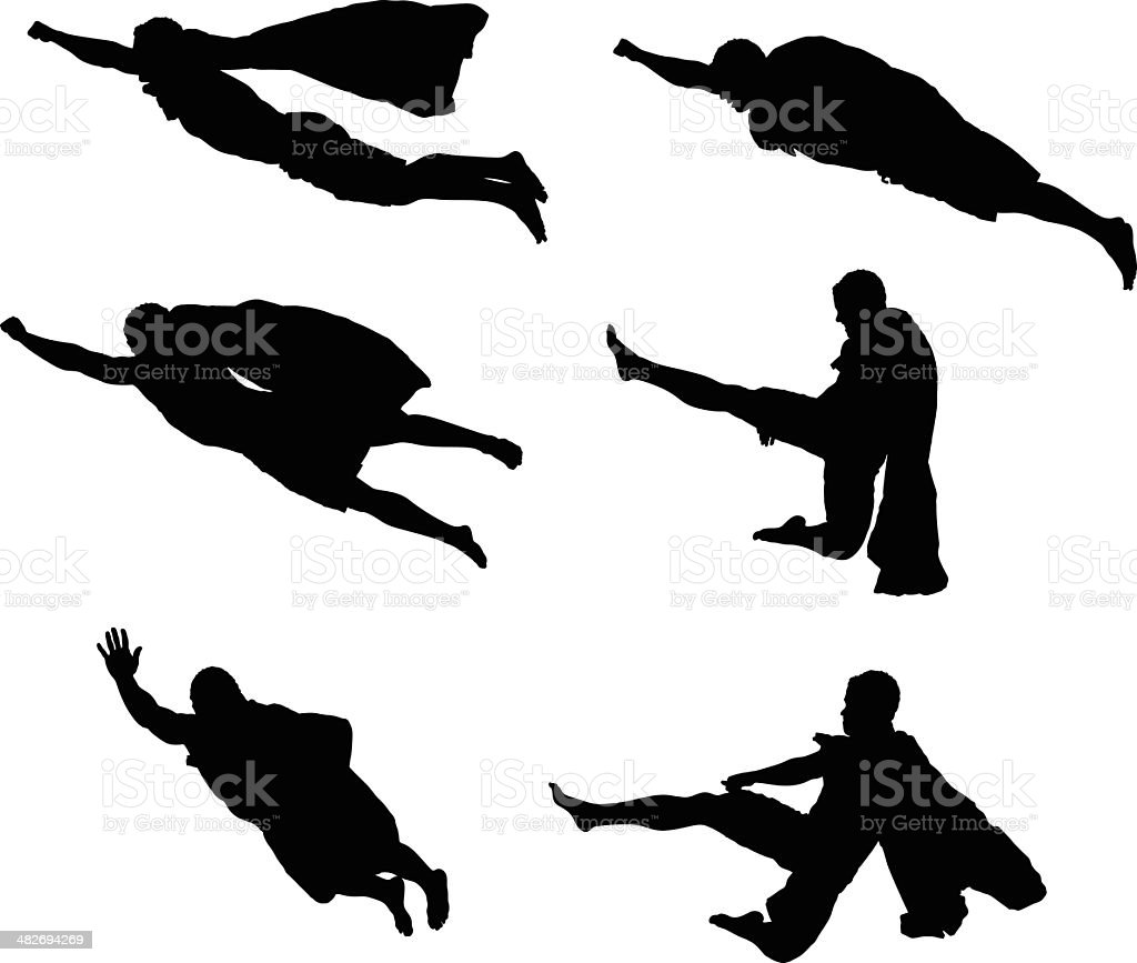 Silhouette of a super man with cape royalty-free silhouette of a super man with cape stock vector art & more images of activity