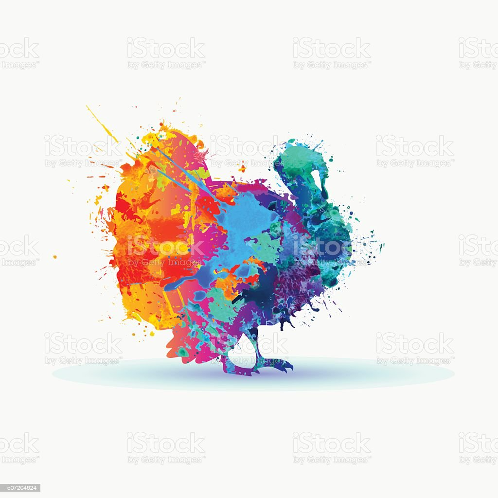 Silhouette of a turkey. Rainbow splashes vector art illustration