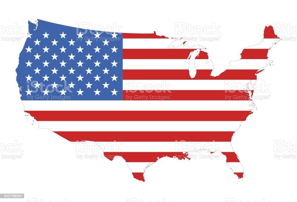 Silueta de una bandera de Estados Unidos en el mapa - ilustración de arte vectorial