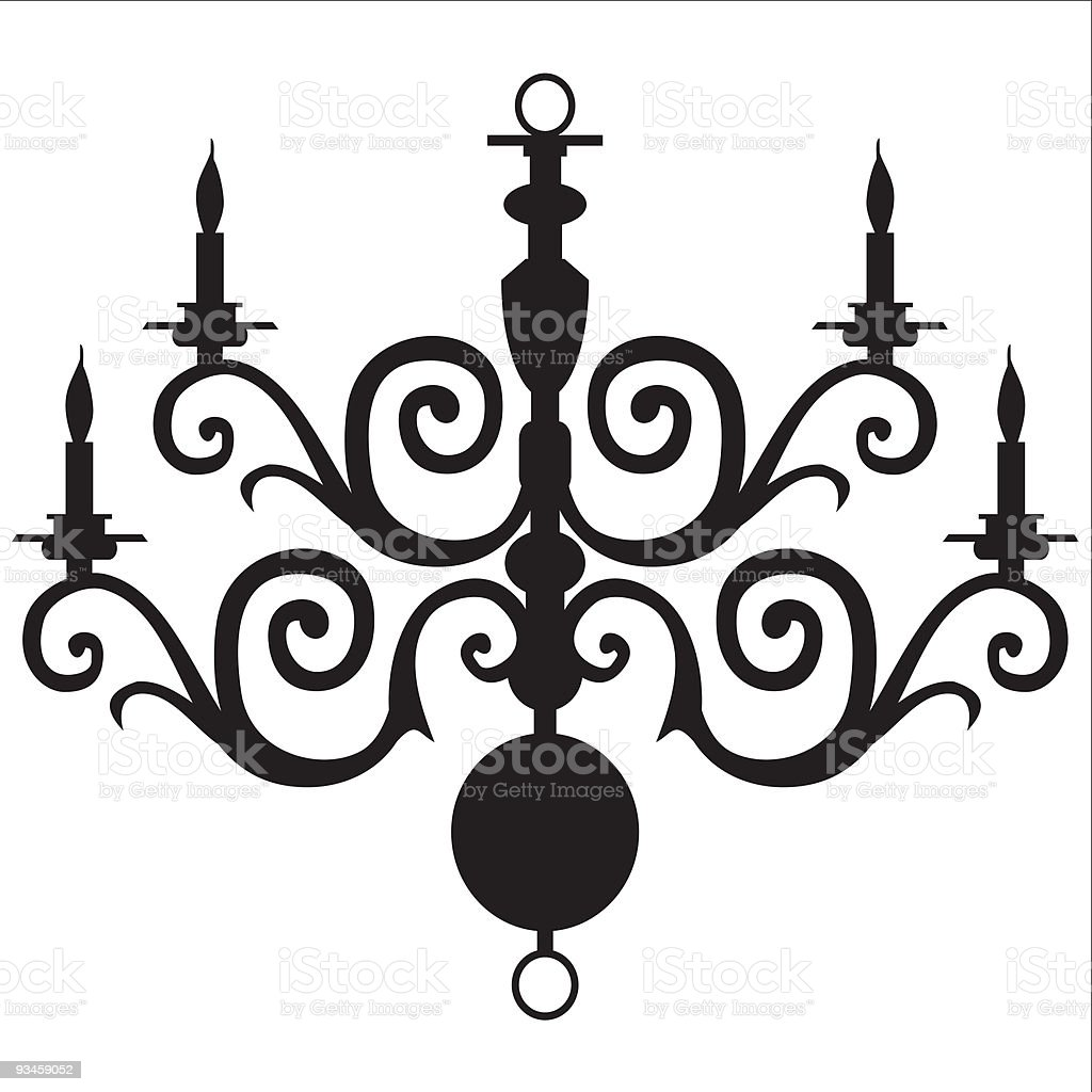 A silhouette of a vector chandelier vector art illustration
