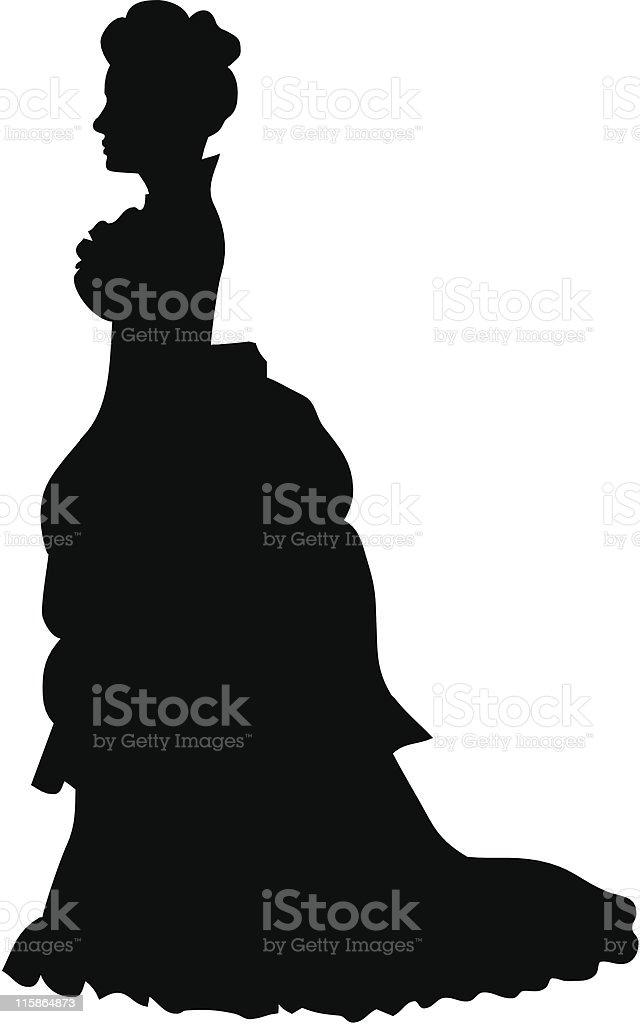 Silhouette eines viktorianischen Frau – Vektorgrafik