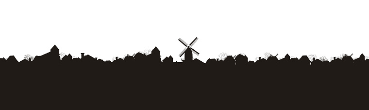 silhouette of a village with a mill. panorama. vector