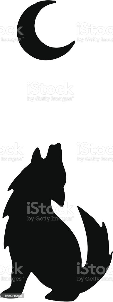 A Silhouette Of A Wolf Howling At The Moon Stock