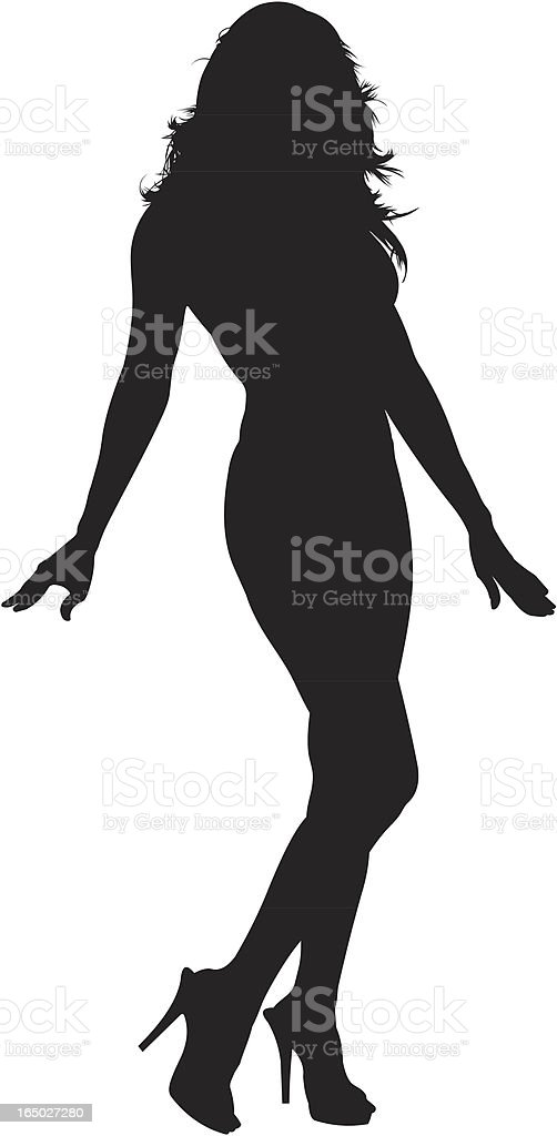 A silhouette of a woman 01 vector art illustration