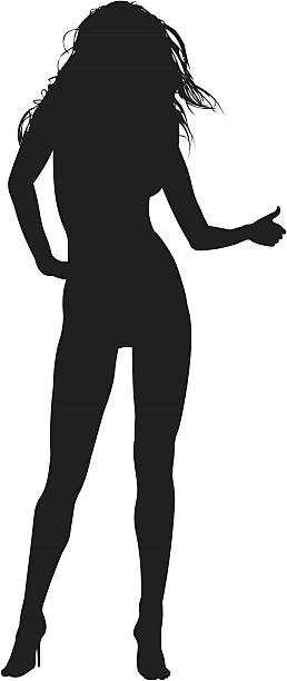 A silhouette of a woman 02 vector art illustration