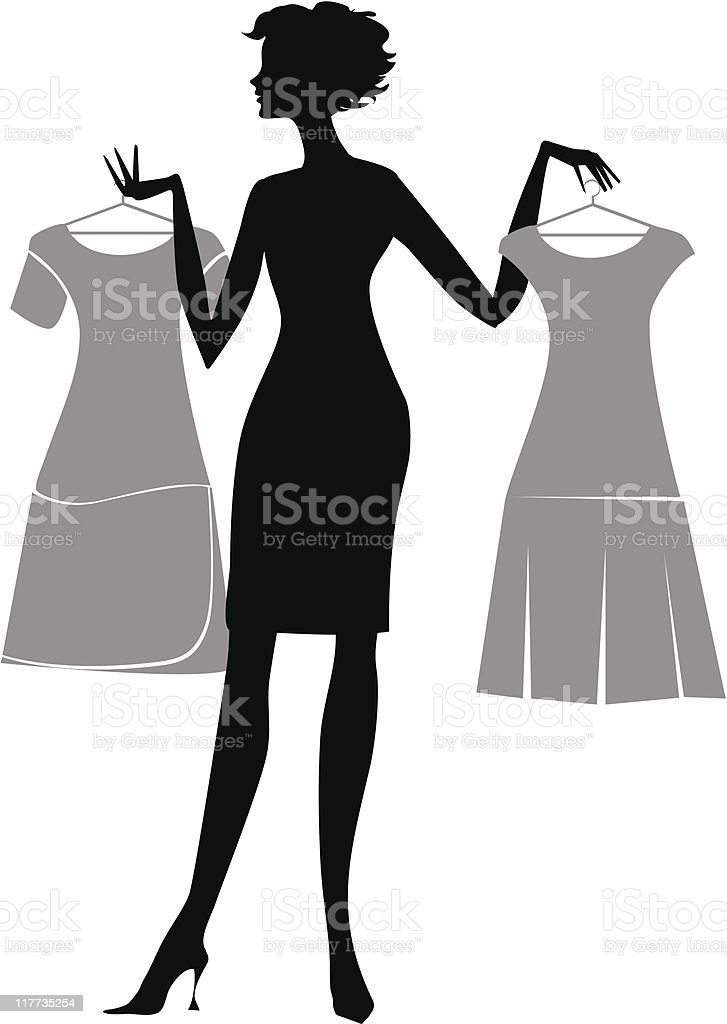 Silhouette of a woman choosing dress vector art illustration