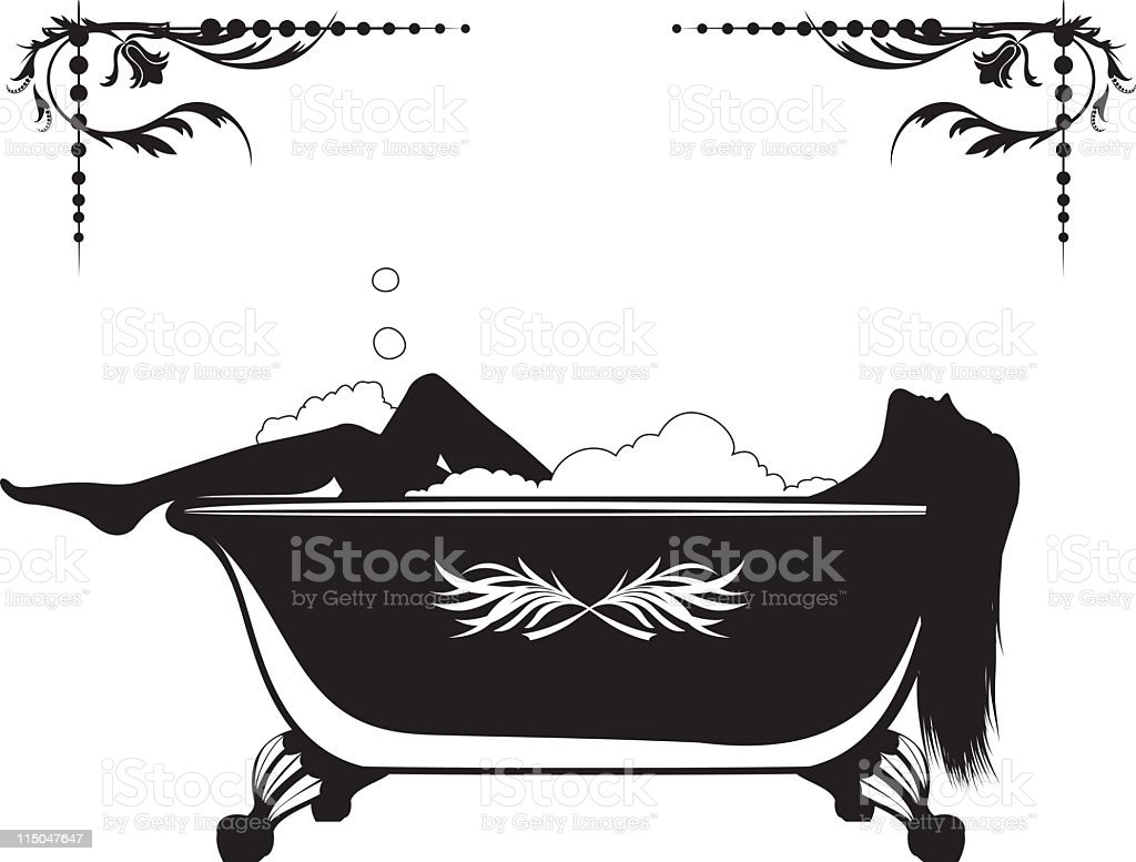 Silhouette Of A Woman Having Bubble Bath Royalty Free