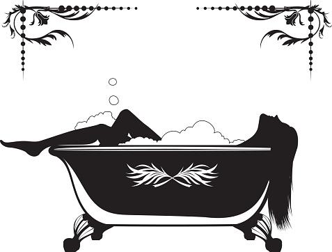 Silhouette of A Woman Having A Bubble Bath