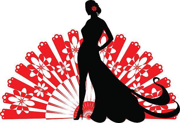 silhouette einer frau - zigeunerleben stock-grafiken, -clipart, -cartoons und -symbole
