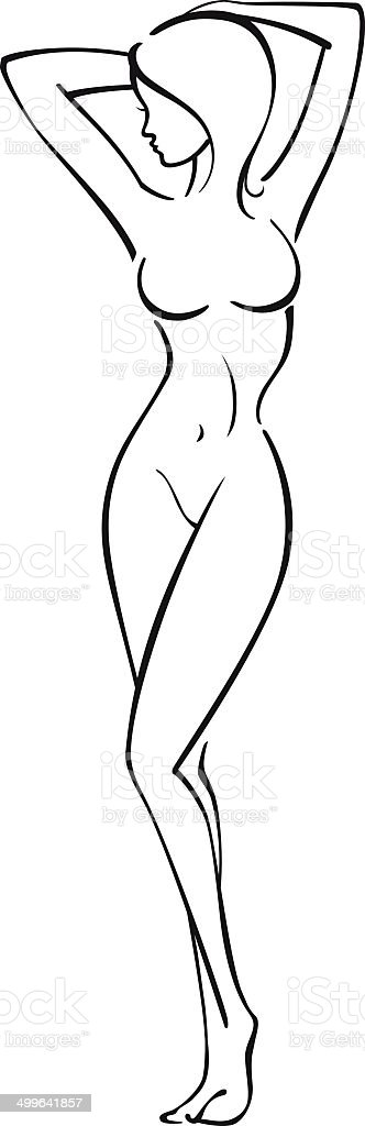 silhouette of a woman vector art illustration