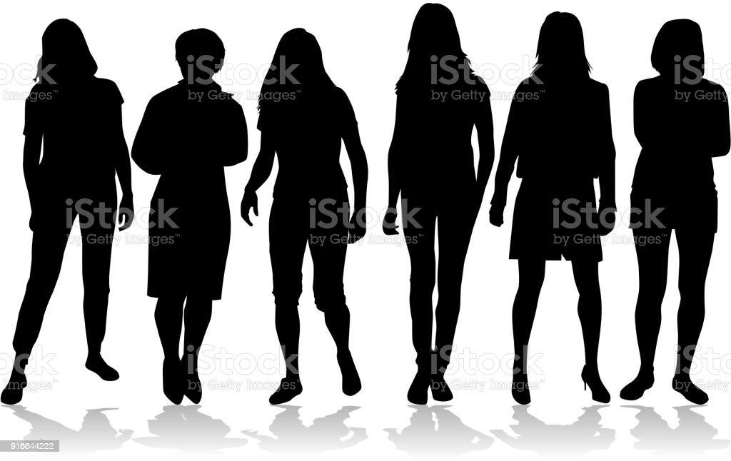 Silueta de una mujer. ilustración de silueta de una mujer y más vectores libres de derechos de actuación - conceptos libre de derechos