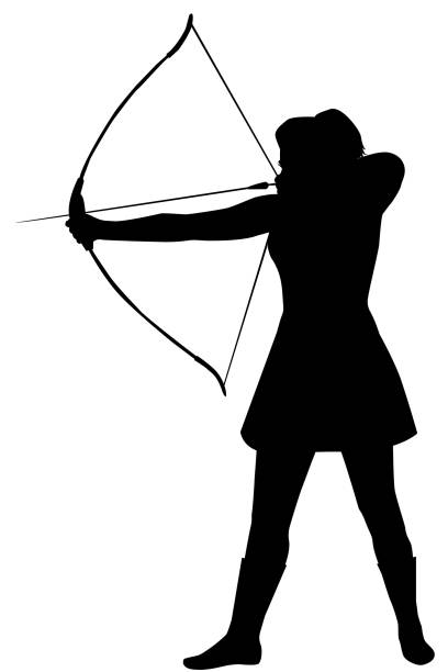 Silhouette of a woman with a bow on a white background Silhouette of a woman with a bow on a white background artemis stock illustrations